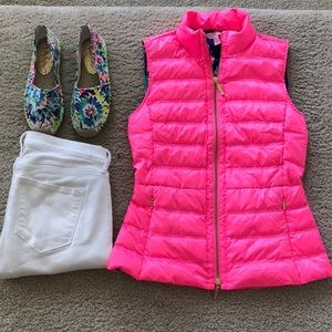 Lilly Pulitzer Elena Puffer Vest in Pink Sunset